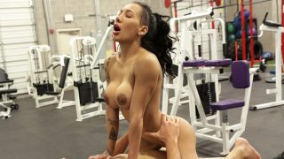 Busty athletic brunette tries anal sex in the gym